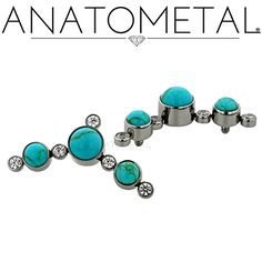 Threaded Clusters in ASTM F-136 titanium with CZ and synthetic Turquoise gemstones