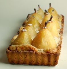 This recipe for an elegant French Pear Tart is perfect for a special dessert; flaky crust filled with pastry cream and poached pears. Pear Recipes, Fruit Recipes, Wine Recipes, Sweet Recipes, Dessert Recipes, Cooking Recipes, Jelly Recipes, Bread And Pastries, French Pastries