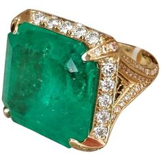 49.37 Carat GIA Cert Colombian Emerald Ring in Diamond Gold Setting