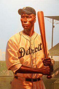 """Turkey Stearnes"" by Kadir Nelson at the National Baseball Hall of Fame and Museum. Baseball Art, Baseball Players, Baseball Painting, Baseball Jerseys, Detroit Baseball, Basketball Tickets, African American Artwork, African Art, Black History"