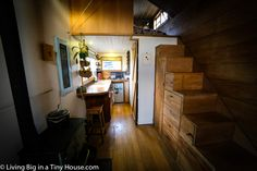 Inside, the home is filled with beautiful timbers which give the Tiny House a truly warm and welcoming feel. Annelies ventured to ensure that her house was packed full of character and would celebrate the fact that so many of the materials used in the home had a life before this house.