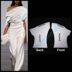 ENG➡️to draft this blouse, start from a basic block without darts mirror back and front for the asymmetrical style, on both raise the… Dress Sewing Patterns, Blouse Patterns, Clothing Patterns, Skirt Patterns, Coat Patterns, Look Fashion, Diy Fashion, Fashion Outfits, Fashion Design