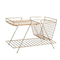 Madam Stoltz Brass Magazine Rack & Wood Table: Brushed gold minimal wire side unit with wooden table top, by Madame Stoltz, for accommodating all your sofa-side needs. Two tiers with plenty of space for remotes, magazines, a bit of knitting & a couple of cuppas.