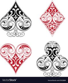 Black and Red Playing Card Ornament Royalty Free Vector , Playing Card Tattoos, Playing Cards Art, Mr Cartoon Tattoo, Card Tattoo Designs, Raiders Tattoos, Dragonfly Drawing, Graffiti Doodles, Jewel Tattoo, Beadwork Designs