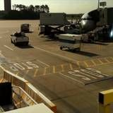 Timelapse of maintenance traffic on a busy runway at the airport. Basketball Court, Runway, Cat Walk, Walkway