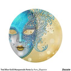 Teal Blue Gold Masquerade Party