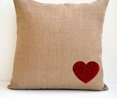 Burlap heart pillow cover with red sequins- Decorative cushion cover with beautiful sequins work - Valentine gift - Throw pillow 16X16