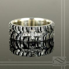 Mens Chevy Tire Tread Ring with CZ  Sterling by mooredesign13, $220.00