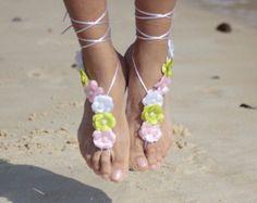 Mediterranean flowers beach wedding barefoot sandals, bangle, wedding anklet,nude shoes