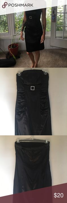 Ruby Rox black satin strapless dress Worn twice. Excellent condition. Size 5 but it fits more like a small or size 2. Ruby Rox Dresses Strapless