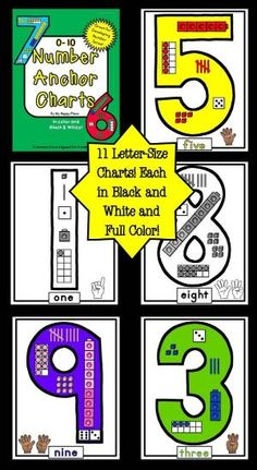 Number Anchor Charts: Common Core Aligned for Kindergarten. Includes charts for 0-10 in color and in black and white. by andrea