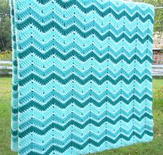 Vintage crochet blanket afghan with green teal white chevron pattern by indiecreativ, $59.00