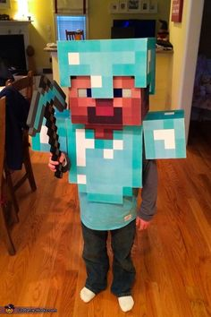 Mike: My son is a huge fan of Minecraft and wanted to be Steve for Halloween. This Minecraft costume was made from paper, cardboard, packing tape, wood and metal flashing. We...