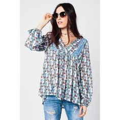 """Chiffon blue floral printed boho shirt with crochet detail https://fuzweb.com/collections/newest-products/products/chiffon-blue-floral-printed-boho-shirt-with-crochet-detail #DiscountCode EXTRA 20% """"FuzWeb1"""""""