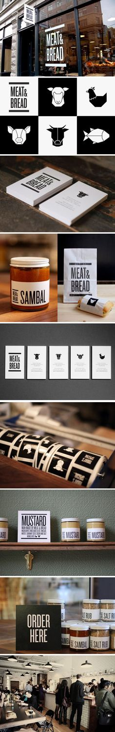 Branding // Meat Bread. Lovely branding and identity project for Vancouver restaurant, Meat Bread, by creative studio Glasfurd Walker, also based in Vancouver. The studio was approached to create a strong, masculine identity and brand design which communicates the restaurant's simple and uncomplicated offer. #branding #identity #logo #design