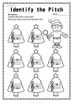This set of 12 Music worksheets Christmas themed is designed to help your students practice identifying Treble pitch. Music Lessons For Kids, Music For Kids, Music Activities, Music Games, Music Theory Worksheets, Violin Sheet Music, Music Symbols, Music Writing, Elementary Music