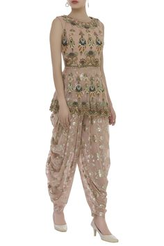 Buy Patchwork Embroidered Peplum Tunic With Dhoti Pants by Ayesha Aejaz at Aza Fashions - Men's style, accessories, mens fashion trends 2020 Pakistani Dress Design, Pakistani Outfits, Indian Outfits, Designer Party Wear Dresses, Kurti Designs Party Wear, Indian Gowns, Indian Lehenga, Indian Designer Suits, Designs For Dresses