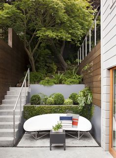 Street patio remodel in SF by Malcolm Davis Architecture Outdoor Living Rooms, Outdoor Dining, Outdoor Spaces, Outdoor Decor, Outdoor Couch, Living Spaces, Interior Garden, Contemporary Landscape, Garden Design