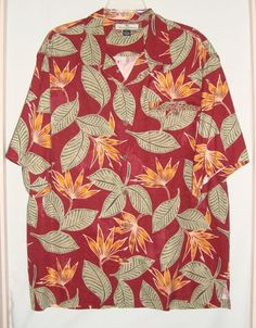 """Exclusive to Tommy Bahama. Left chest pocket has button closure. Matching trim at pocket and around front and back yoke. Details: This is a beautiful, silk shirt! Shoulder to shoulder : 23"""". Sleeve : 11 1/2"""". 