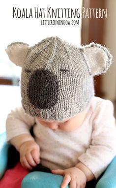 Free Cuddly Koala Hat Knitting Pattern!   littleredwindow.com