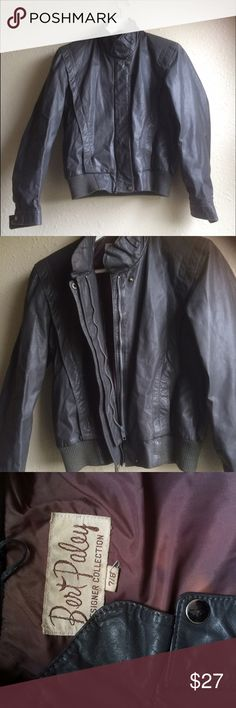 Grey Leather Members Only Jacket Vintage, grey, genuine leather, members only jacket. In good condition except the paint coming off the buttons (see photo), and a little bit of sun bleaching on the inside of the coat, no damage to the exterior of the coat, the leather is in good condition. Fits like a small. Vintage Jackets & Coats