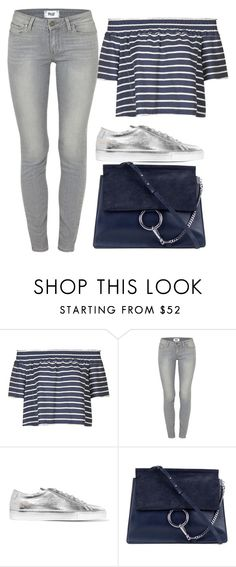 """""""Outfit"""" by meloprea ❤ liked on Polyvore featuring Topshop, Paige Denim, Common Projects, Chloé, Blue, stripes, Silver and navy"""