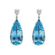 Betteridge Aquamarine & Diamond Drop Earrings