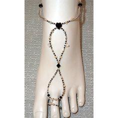 Swarovski crystal black heart and crystal AB slave anklet barefoot sandal, $16