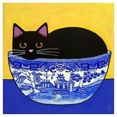 blue willow print | ... > Wall Art > Posters > Black Cat In Blue Willow Bowl Print Poster