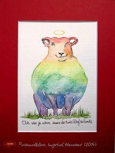 """No. 031 der wandklex-Unikatserie """"Ich war schon immer das Bunte Schaf der Familie"""" - nummerierte Einzelstücke! Ihr eigenes Schaf können Sie als Ihr Designerstück von wandklex® Ingrid Heuser, Ratzeburg, Germany bestellen:  im kleinen Klexshop bei DaWanda auf http://de.dawanda.com/shop/wandklex ©  Kunstatelier wandklex Ingrid Heuser, D-Ratzeburg Besuchen Sie mich auch auf facebook: https://www.facebook.com/wandklex"""
