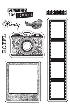 This stamp set is compatible with my new Snapshot dies from Spellbinders. The stamps with the outline are Compatible. All you have to do is line up the outside of the die with the outline to get perfectly stamped and die cut images! Diy And Crafts, Paper Crafts, Tampons, Digi Stamps, Filofax, Planner Stickers, Mini Albums, Coloring Pages, Stencils