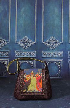 Celtic Festival Ball Screen Print Faux leather Arm Bag Hand Bag Shoulder Bag Messenger Bag  -- Belle Celtic Festival, Boho Festival, Leather Bags, Antique Brass, Louis Vuitton Monogram, Screen Printing, Messenger Bag, 3 D, Shoulder Bag