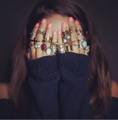 Hipster Rings Tumblr | hair girl cute tumblr sweater perfect hippie hipster boho indie ring ...