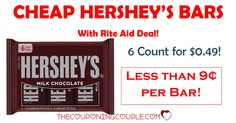 *CHEAP HERSHEY's CHOCOLATE BARS* Pay as little as $0.09 each! Stock up at Rite Aid next week! Great for S'Mores!  Click the link below to get all of the details ► http://www.thecouponingcouple.com/hersheys-chocolate-bars-0-49-riteaid/ #Coupons #Couponing #CouponCommunity  Visit us at http://www.thecouponingcouple.com for more great posts!