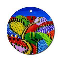Landscape Whimsical Colorful Round Porcelain by reniebritenbucher