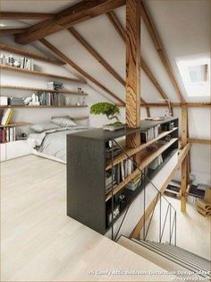 Tout pour votre chambre mansardée en photos et vidéos! Master-Suite unter Dach in hellem Holz hellem Parkett Schlafzimmermöbel Attic Bedroom Designs, Attic Design, Home Design, Design Ideas, Bedroom Ideas, Loft Interior Design, Interior Modern, Design Bedroom, Interior Ideas