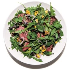 Steak Salad With Herbs. The next time you're serving a salad, add some herbs. Healthy Beef Recipes, Herb Recipes, Salad Recipes, Cooking Recipes, Vegetarian Recipes, Grilling Recipes, Yummy Recipes, Chicken Recipes, Yummy Food