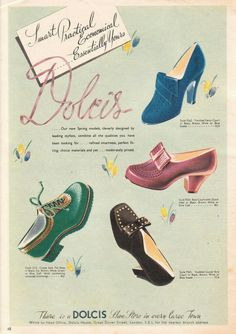 1940s shoes by Dolcis. 1942 shoe advertisement.  40s fashion