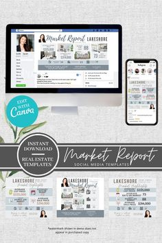 This pack of Facebook and Instagram Market Report Templates is a must for your real estate social media marketing. These beautifully designed templates are super easy to use... just type in your own information and add your own listing photos.. and voila - you've got instant social media posts! I mean, how easy is that?  These templates can be edited easily with Canva.com to suit your brand or business.  Real Estate Marketing, Social Media Marketing, Real Estate Templates, Real Estate Buyers, Rack Card, Social Media Template, All Fonts, Facebook, Urban Design