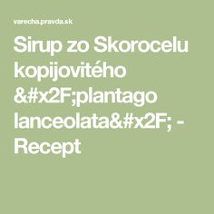Sirup zo Skorocelu kopijovitého /plantago lanceolata/ - Recept