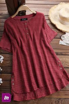 Plus Size Women Summer Button Crew Neck Blouses Loose Baggy Tops Tunic Shirts Ladies Casual Solid Short Sleeve Blouse, Red / XXXL Baggy Shirts, Baggy Tops, Women's Tops, Loose Shirts, Chic Outfits, Fashion Outfits, Fashion Women, Fall Fashion, Fashion Online