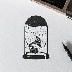 Sad Song. #illustration #draw #penandink #inkwork #tattoo #gramophone