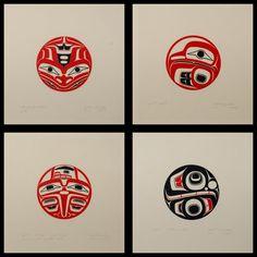 Frog / Eagle / Raven / Killerwhale (1977) [Set of 4] by Robert Davidson, Haida artist (RD1977-04)