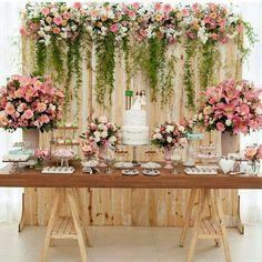 casamento em casa com decoração rústica para mesa de bolo