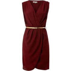 True Decadence Crossover belted dress (14 AUD) ❤ liked on Polyvore featuring dresses, wine, women, belt dress, spotted dress, belted dress, wine red dress and true decadence