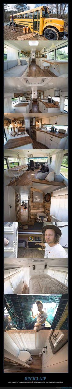 Esta pareja ha convertido un autobús escolar en un loft con materiales reciclados - Esta pareja ha convertido un autobús escolar en un loft con materiales reciclados   Gracias a http://www.cuantarazon.com/   Si quieres leer la noticia completa visita: http://www.estoy-aburrido.com/esta-pareja-ha-convertido-un-autobus-escolar-en-un-loft-con-materiales-reciclados-esta-pareja-ha-convertido-un-autobus-escolar-en-un-loft-con-materiales-reciclados/