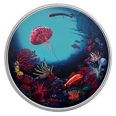 2 oz. Pure Silver Glow-in-the-Dark Coin - Illuminated Coral Reef - Mintage: 4,000 (2016)