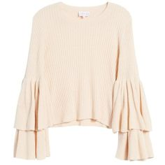 Women's Devlin Tiara Bell Sleeve Sweater (1.056.230 IDR) ❤ liked on Polyvore featuring tops, sweaters, blush, pink sweater, pink bell sleeve top, pink ribbed top, flared sleeve top and ribbed sweater