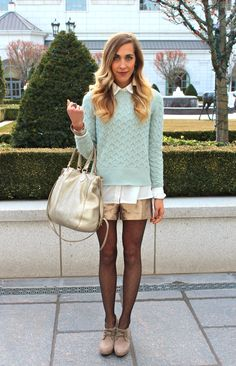 mint sweater / sequin shorts / polka dot tights