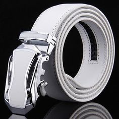 cool Luxury Mens Automatic Buckle Waistband White Leather Belts Waist Strap Waistband